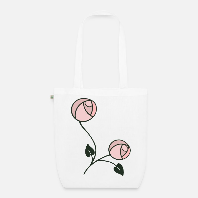 Art Nouveau Bags & Backpacks - Mackintosh Style Art Nouveau Roses - Organic Tote Bag white