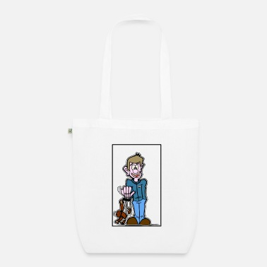 boy with puppet - Organic Tote Bag