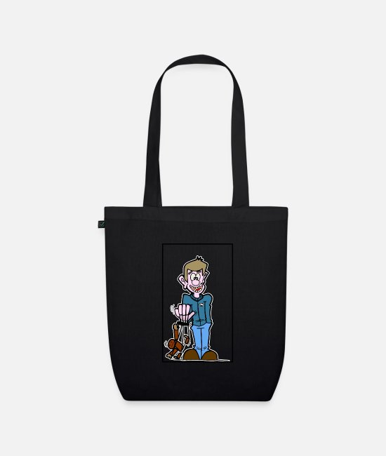 Dosky.D Bags & Backpacks - boy with puppet - Organic Tote Bag black