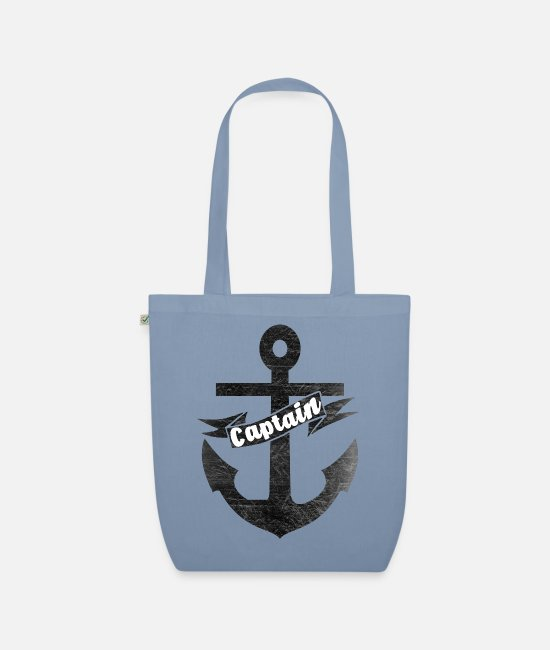 Anchor Bags & Backpacks - The ️ captain with his ⚓ anchor in vintage style - Organic Tote Bag steel blue