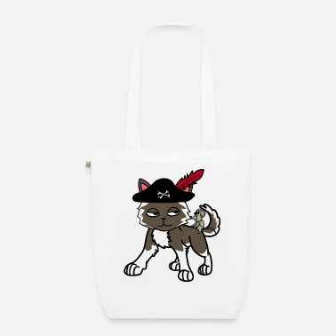 Buccaneer Funny cat pirate buccaneer with mouse - Organic Tote Bag