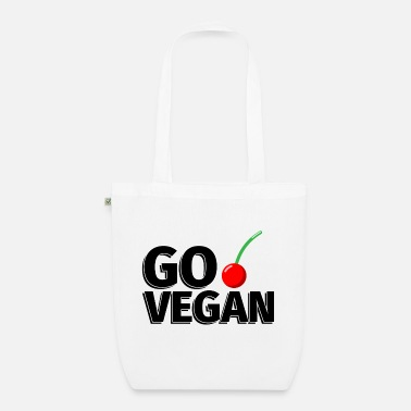 Illustration Go Vegan Kirsche - Illustration - Bio Stoffbeutel