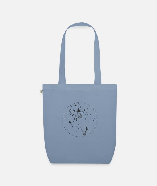 Diabolic Bags & Backpacks - The hand of the witch, the fairy, who holds the moon. - Organic Tote Bag steel blue