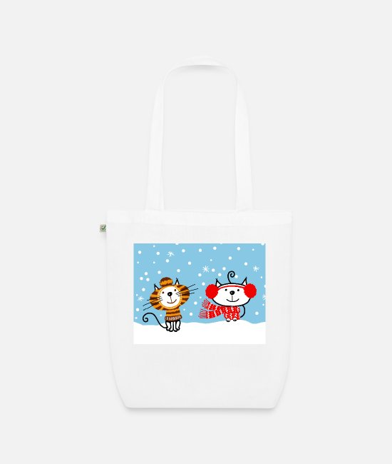Soft Kitty Bags & Backpacks - cats under the snow - Organic Tote Bag white
