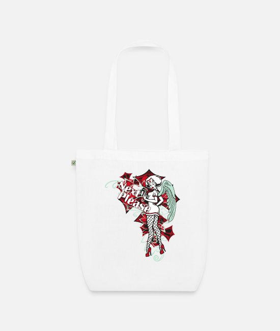 Wing Bags & Backpacks - Next Please Pin Up Lady Nurse Angel - Organic Tote Bag white