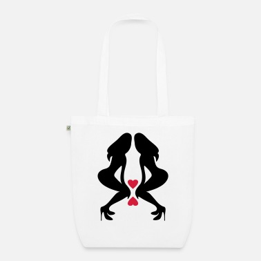 Naughty Hot Busty Girls With Long Sexy Legs With Long Hairs Silhouettes ۞»♥Sexy Twin women on Killer Stilettos♥«۞ - Organic Tote Bag