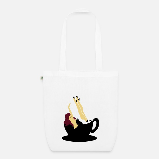 Coffee Bags & Backpacks - Kaffee Pinup / coffee girl (3c) - Organic Tote Bag white