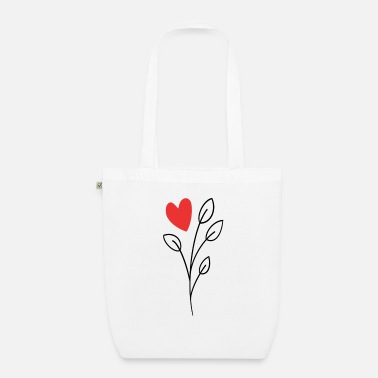Hen Night Heart rose flower with heart gift idea Valentine's Day - Organic Tote Bag