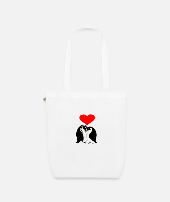 Heart Bags & Backpacks - penguin couple - Organic Tote Bag white