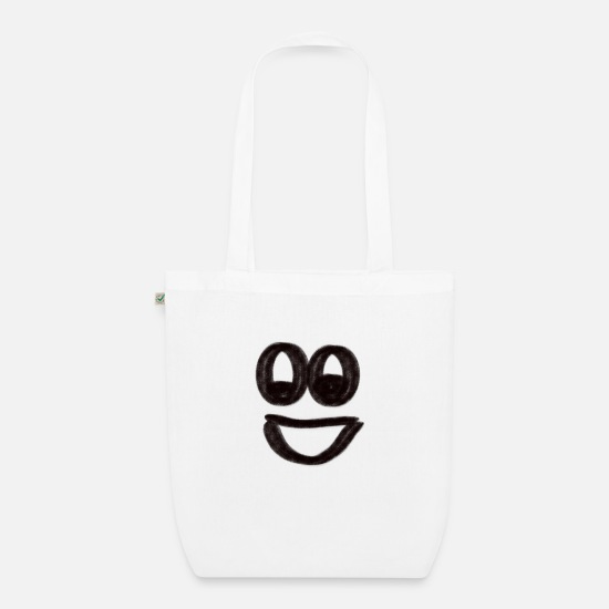 Eye Bags & Backpacks - Face LAUGH - Organic Tote Bag white