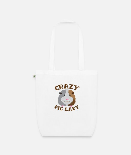 Floofy Bags & Backpacks - Crazy PIG lady guinea pig - Organic Tote Bag white