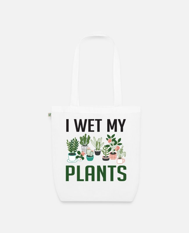 Funny Unicorn Bags & Backpacks - I Wet My Plants Funny Plant Lover Girls T Shirt - Organic Tote Bag white