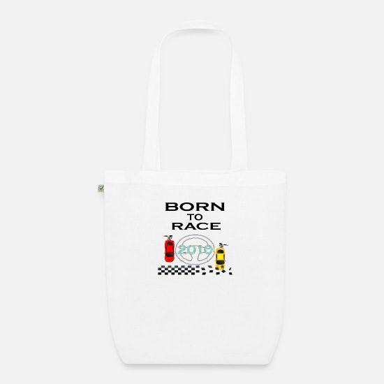 Born Bags & Backpacks - Born To Race Racing - Organic Tote Bag white