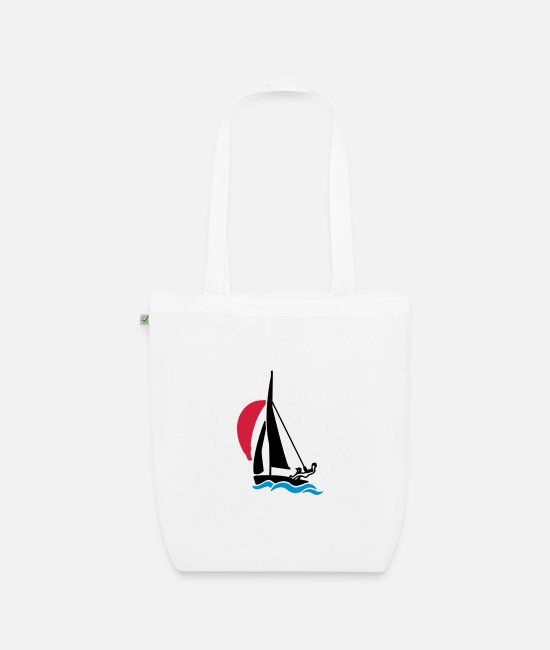 Water Bags & Backpacks - Dinghy with spinnaker - Organic Tote Bag white