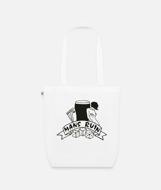 Tattoo Drugs Bags & Backpacks - Mans Ruin Sex Drugs Rock and Roll Pinup Girl - Organic Tote Bag white