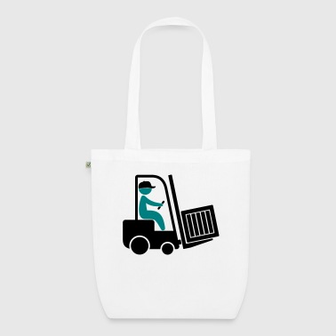 A forklift transporting a box - EarthPositive Tote Bag