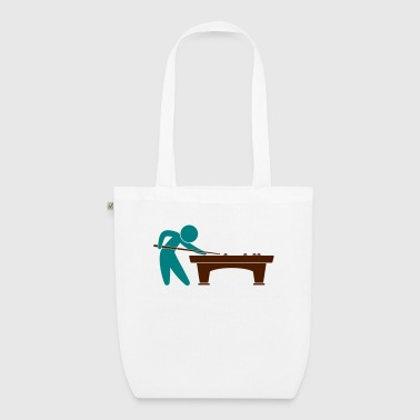 A pool player is on the pool table - EarthPositive Tote Bag