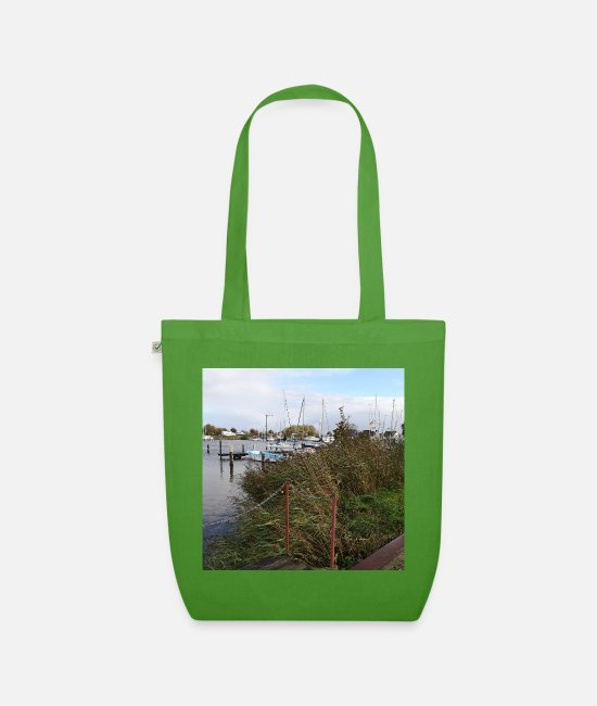 "Sail Boat Bags & Backpacks - Cool North Sea photo motif ""Am Yachthafen Herbst"" - Organic Tote Bag leaf green"