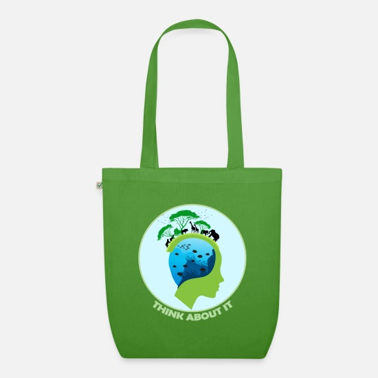 Ecology Bags & Backpacks - Think about it - Organic Tote Bag leaf green