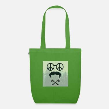 Mustache Underwear funny hipster hippie beard ax - Organic Tote Bag