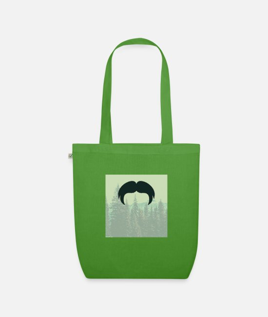 Hipster Bags & Backpacks - Hipster beard beard in the forest mustache - Organic Tote Bag leaf green