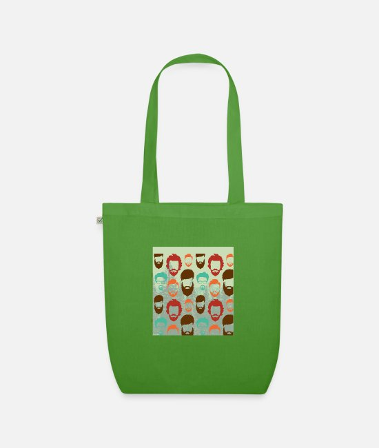 Hipster Bags & Backpacks - funny hipster beard faces with glases - Organic Tote Bag leaf green