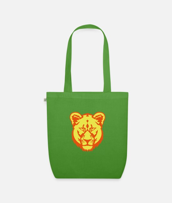 Lion Head Bags & Backpacks - lioness lion wild animal drawing cartoon 30 - Organic Tote Bag leaf green