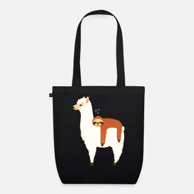 Alpaca Sloth Sleeping On Alpaca - Bio stoffen tas