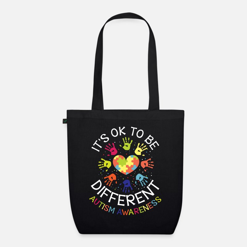 Autism Bags & Backpacks - It's ok to be different - Autism Awareness - Organic Tote Bag black