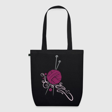 Knitting needles with wool and flowers. - EarthPositive Tote Bag