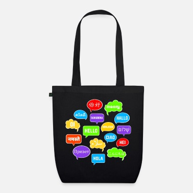 Language Colorful speech bubbles with hello in many languages - Organic Tote Bag