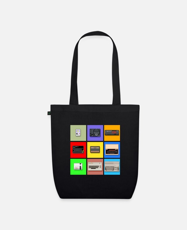 Amiga Bags & Backpacks - Pixel Retro Gaming Machines Squares - Organic Tote Bag black