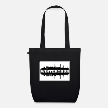 Born In Winterthur Switzerland Travel Souvenir Skyline Sil - Organic Tote Bag
