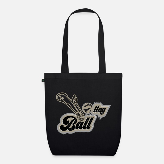 Typography Bags & Backpacks - VolleyBall (excavator edition) - Organic Tote Bag black