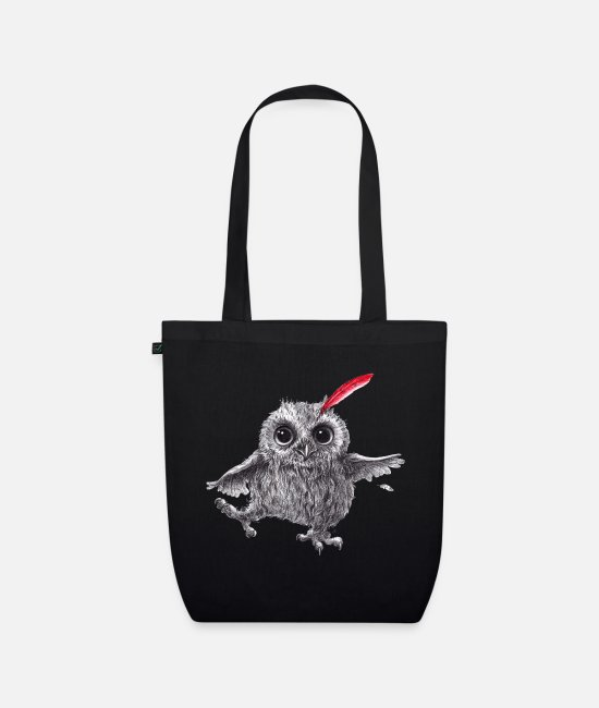 Red Bags & Backpacks - Chief Red - Happy Owl - Organic Tote Bag black