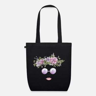 Flower Crown & Sunglasses Design - Floral Wreath - Organic Tote Bag