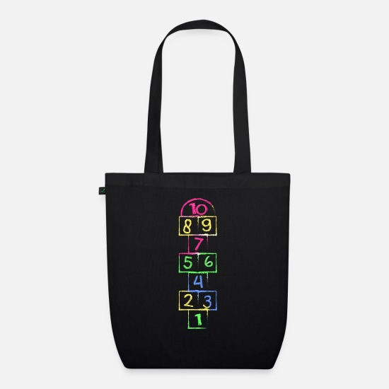 Kindergarten Bags & Backpacks - Retro 80's 90's Hickelkasten theme party outfit - Organic Tote Bag black