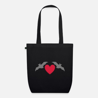 Pygmy Bat Two bats and a heart - Organic Tote Bag