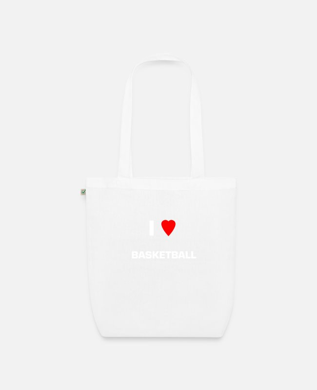 Womens Basketball Bags & Backpacks - I LOVE BASKETBALL - Organic Tote Bag white