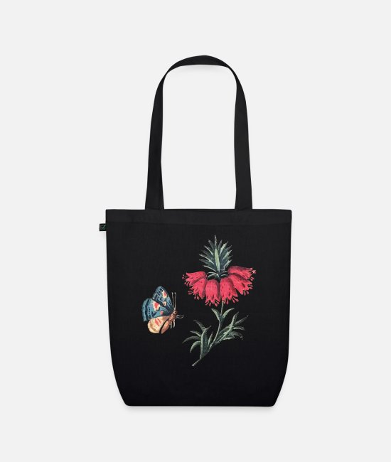 Red Bags & Backpacks - Flying butterfly with flowers - Organic Tote Bag black