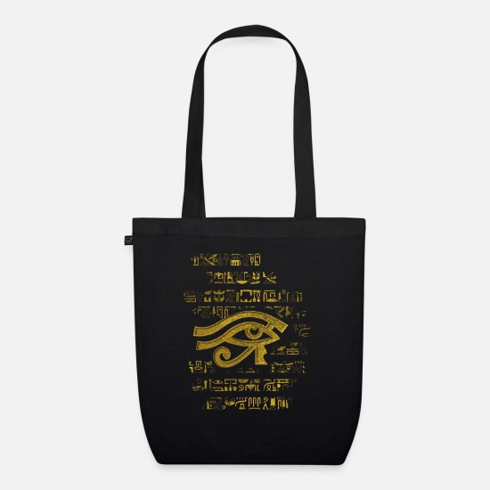 Gold Bags & Backpacks - Egyptian Eye of Horus - Wadjet - Organic Tote Bag black