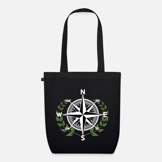 Gift Idea Bags & Backpacks - Windrose seafaring with laurels wreath - Organic Tote Bag black