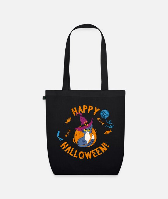 Hipster Bags & Backpacks - Happy Halloween Kitten Grunge - Organic Tote Bag black