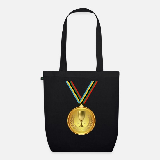 Gold Bags & Backpacks - Gold medal, medal, winner winner - Organic Tote Bag black