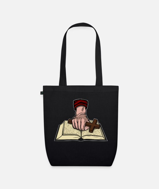 Master Bags & Backpacks - Bible and Cross - Organic Tote Bag black