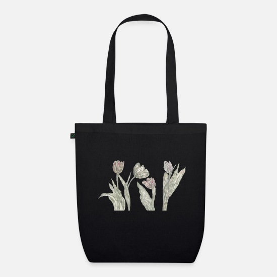Floral Bags & Backpacks - tulips - Organic Tote Bag black