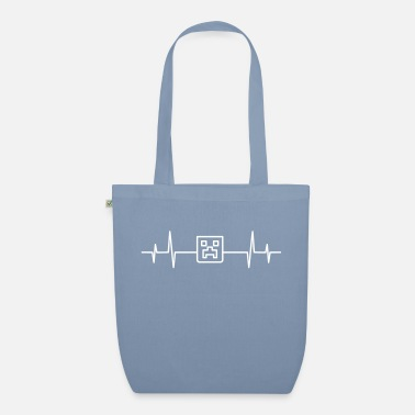 Craft Heartbeat Creeper Head Gamer Mine Craft Retro - Organic Tote Bag