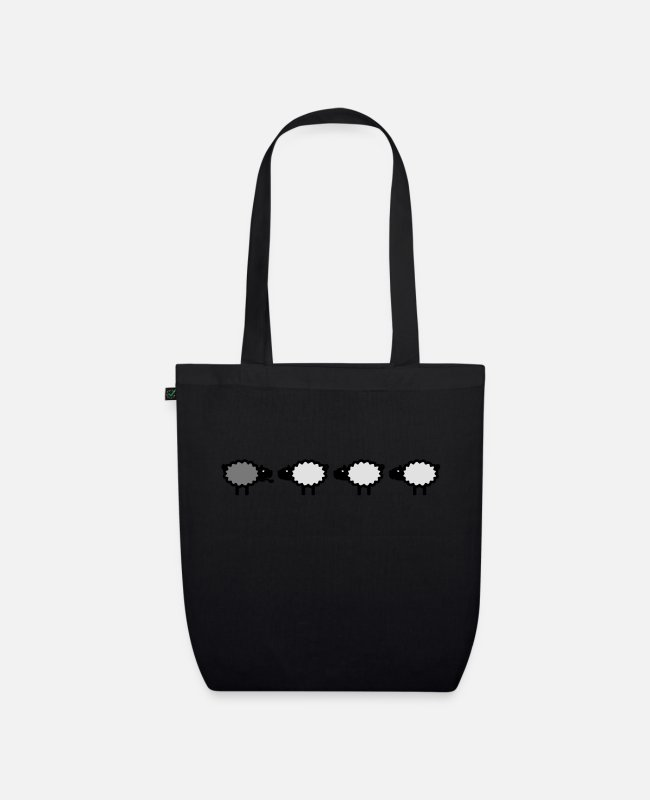 Herde Bags & Backpacks - Drei Schafe plus eins / 3 sheep + one (b, 1c) - Organic Tote Bag black