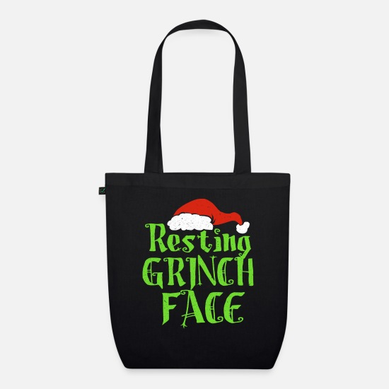 Grinch Bags & Backpacks - Resting Grinch Face - Organic Tote Bag black