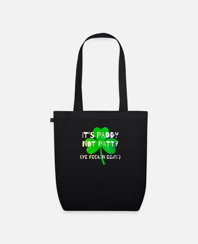 Gold Bags & Backpacks - Feckin Eejit for St Paddy's Day - Organic Tote Bag black